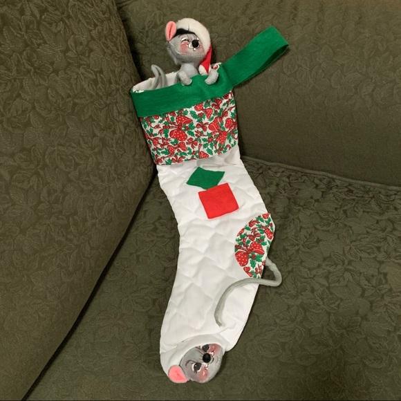 Vintage Annalee Christmas Stocking Peek a Boo Mice